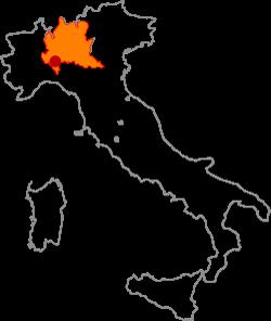 ピエモンテ、オルトレポ・パヴェーゼエリアの地図